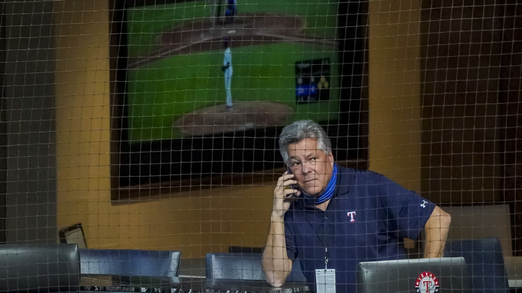 Texas Rangers chairman, ownership committee and chief operating officer Neil Leibman watches from a field level suite during the fifth inning against the San Diego Padres at Globe Life Field on Tuesday, Aug. 18, 2020. (Smiley N. Pool/The Dallas Morning News)