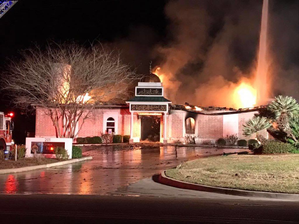 A fire tore through the Islamic Center of Victoria, a mosque, in January. No injuries were reported, but the blaze caused about $500,000 worth of damages.