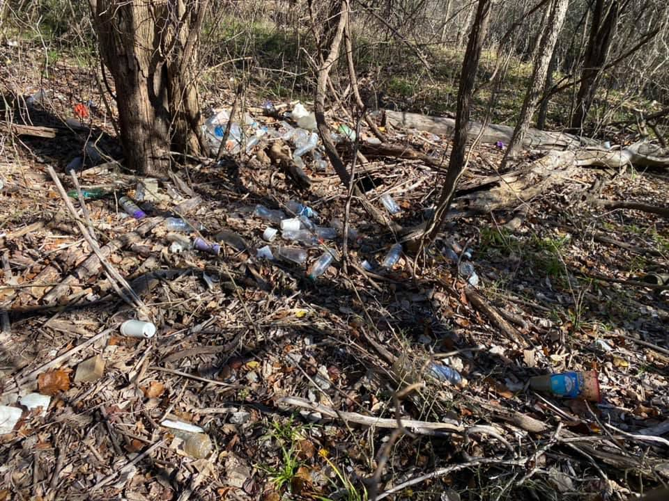 Plastic bottles and cups littered at Arlington's Fish Creek. Volunteers will return to the area this year to pick up trash.