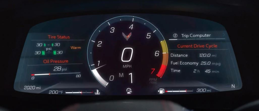 The main screen of the 2020 Chevrolet Corvette changes depending on the current driving mode.