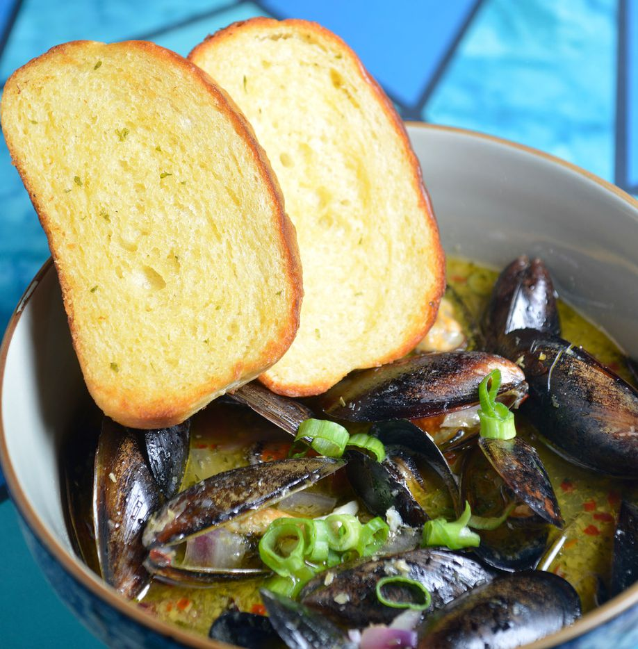 Jackson Tran's mussels, a house specialty, at Cosmo's in Dallas, Texas on July 11, 2018. (Robert W. Hart/Special Contributor)