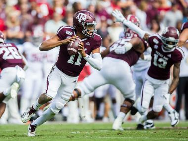 Texas A&M Aggies quarterback Kellen Mond (11) runs the ball during the first quarter of a college football game between Texas A&M and Alabama on Saturday, October 12, 2019 at Kyle Field in College Station, Texas. (Ashley Landis/The Dallas Morning News)