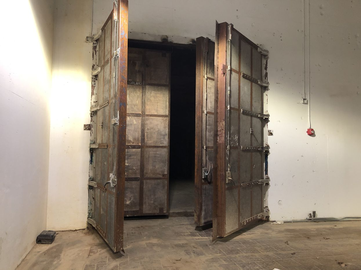 Double blast doors lead to an old jet engine test chamber in the basement of the Braniff Centre on Lemmon Avenue in Dallas.
