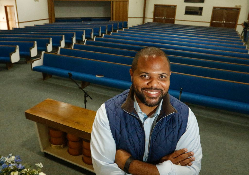 Texas State Representative Eric Johnson, District 100, poses for a photograph in the sanctuary of Dallas West Church of Christ in west Dallas, Wednesday, April 25, 2018. He grew up in west Dallas and was baptized in the church. He is now trying to have a plaque remove from the State Capital that says slavery wasn't an underlying cause of the Civil War. ( Ron Baselice/The Dallas Morning News)
