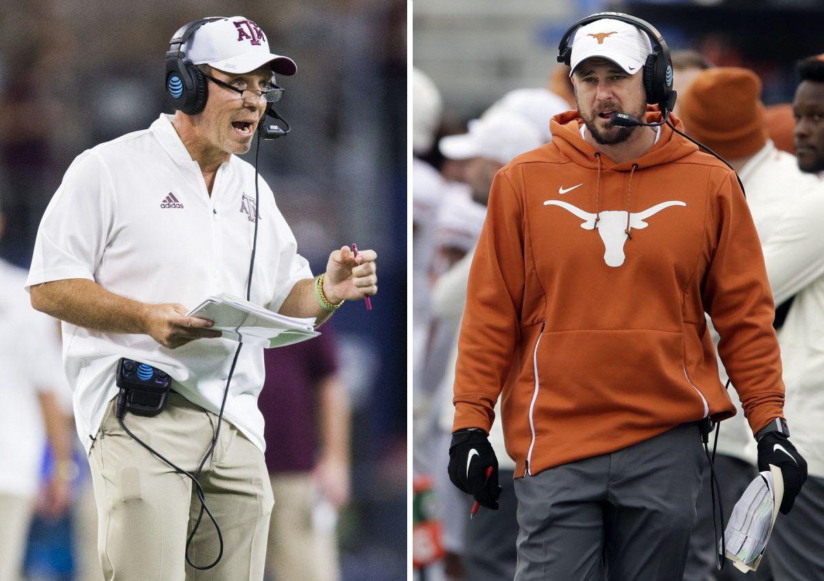 Left: Texas A&M Aggies head coach Jimbo Fisher (Ashley Landis/The Dallas Morning News) / Right: Texas Longhorns head coach Tom Herman (AP Photo/Orlin Wagner)
