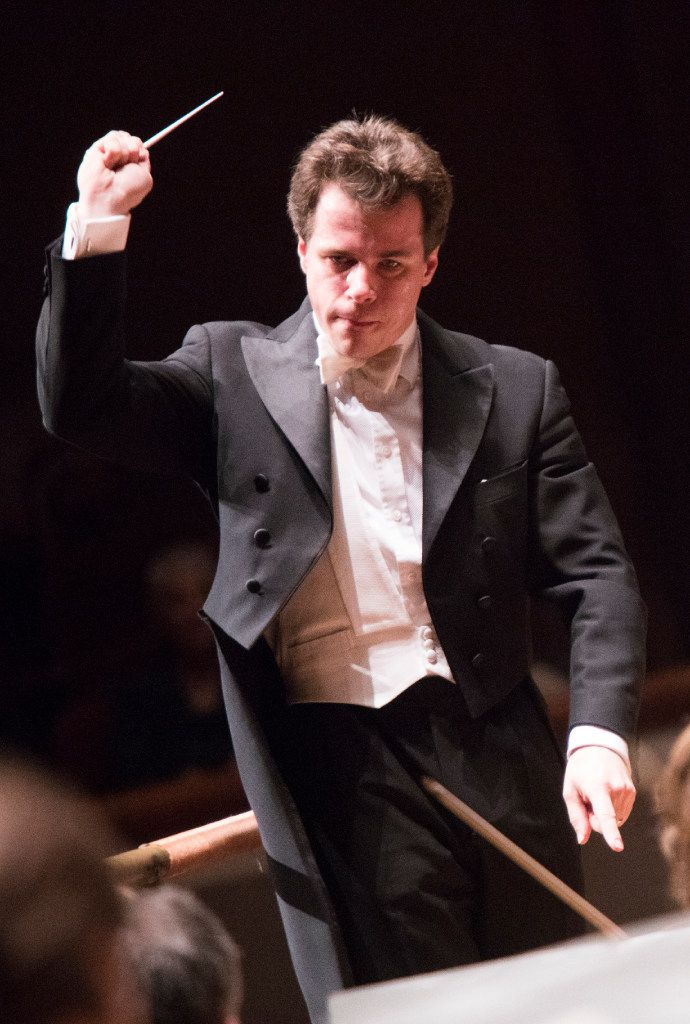 Guest Conductor Jakub Hrusa leads the Dallas Symphony Orchestra in concert on Feb. 23 at the Meyerson Symphony Center in Dallas.