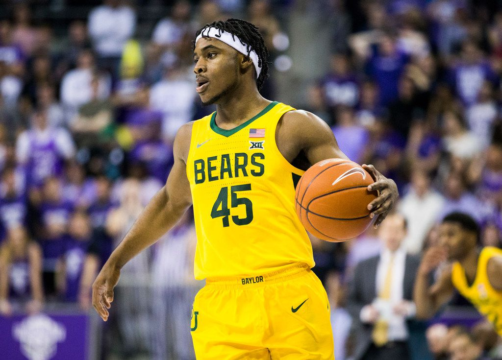 Baylor Bears guard Davion Mitchell (45) looks for a pass during the first half of an NCAA mens basketball game between Baylor and TCU on Saturday, February 29, 2020 at Ed & Rae Schollmaier Arena on the TCU campus in Fort Worth. (Ashley Landis/The Dallas Morning News)
