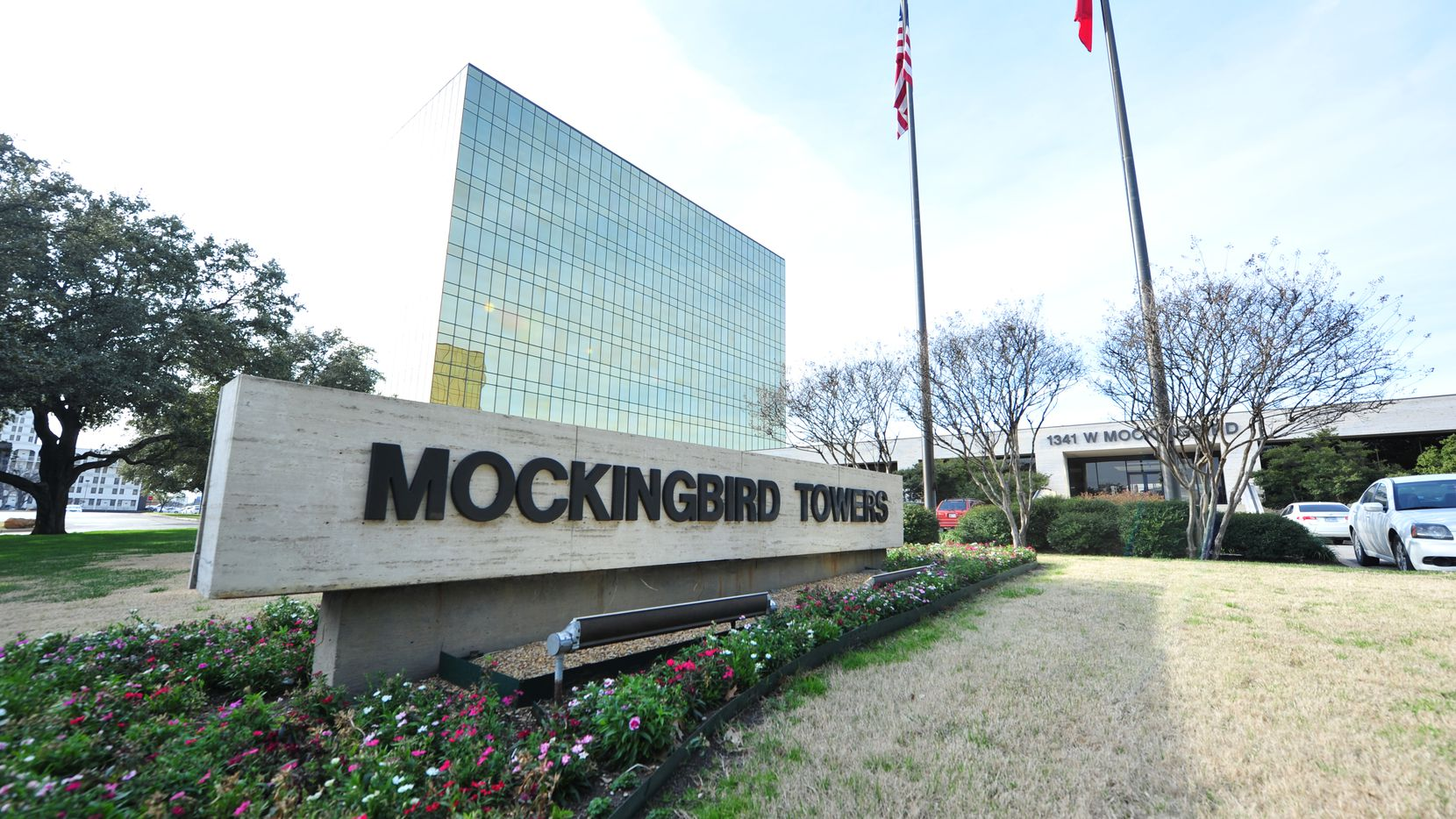 The 2-building Mockingbird Towers is between Stemmons Freeway and Love Field.