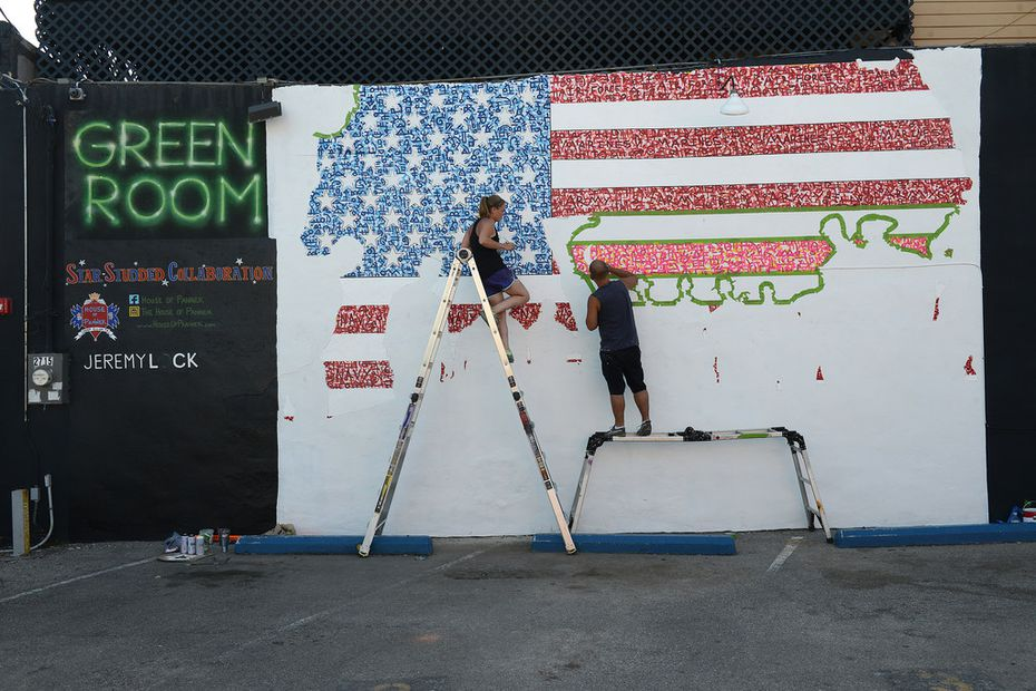 The mural, completed outside the Green Room pub, was donated as part of a 10-mural project spearheaded by Preston Pannek and his girlfriend, artist Adrienne Creasey.