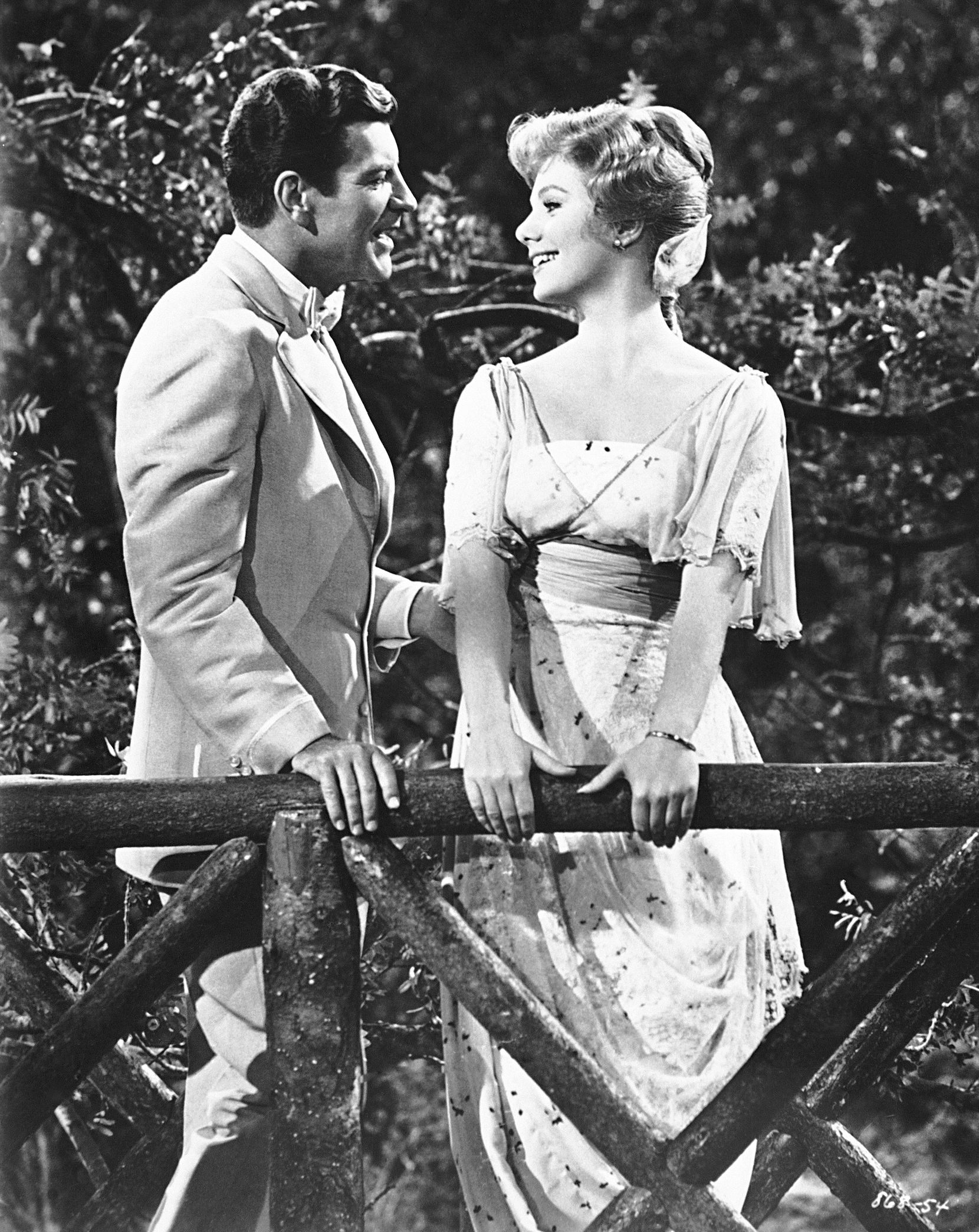 Actors Robert Preston (left) and Shirley Jones during the filming of the 1962 movie version of the Broadway musical 'The Music Man.'