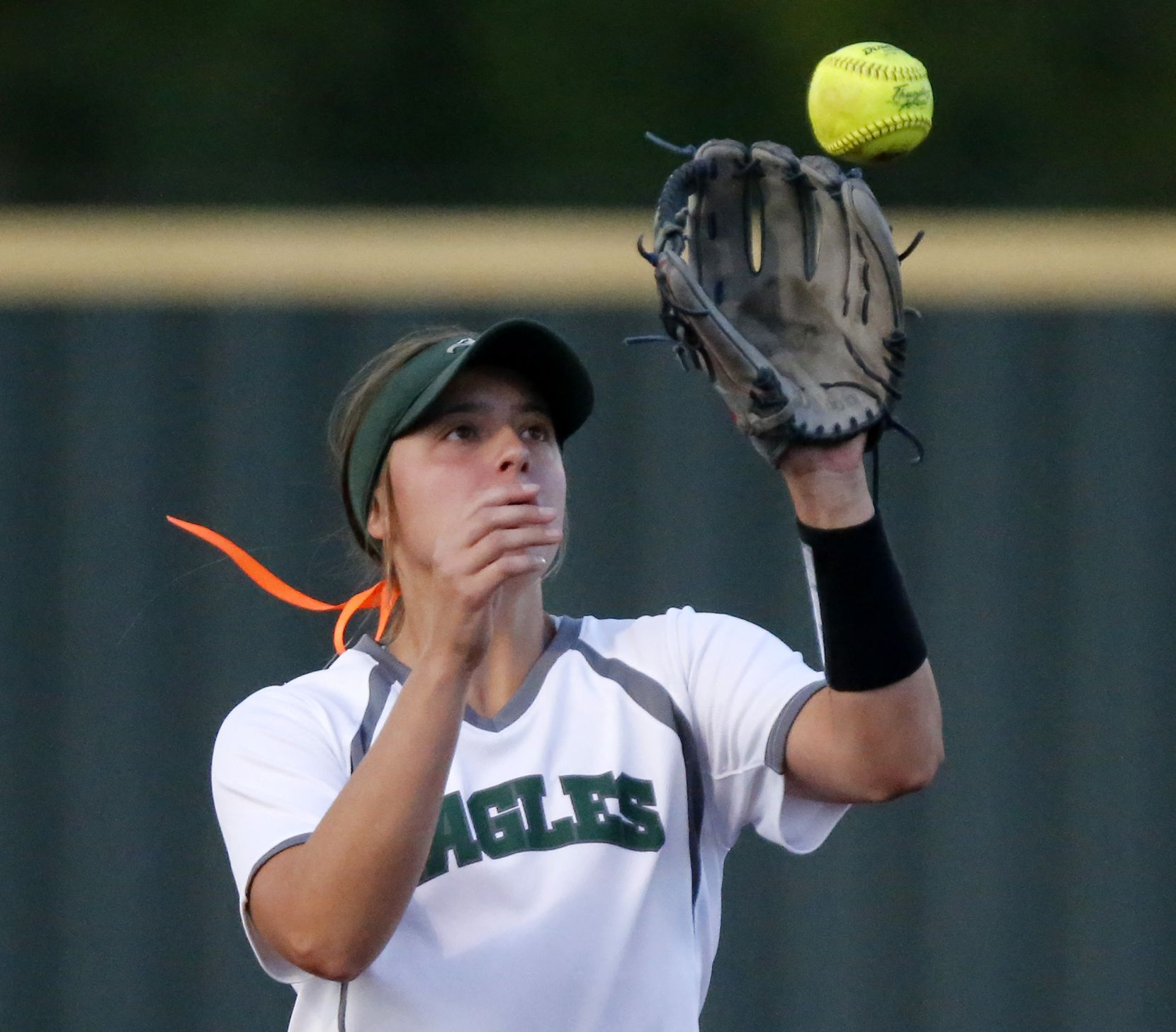 Prosper shortstop Abbey Beasley (11) fields a high bouncing ball in the third inning as Denton Guyer High School played Prosper High School in the second of a best-of-three Class 6A Region I softball quarterfinal at Prosper High School in Prosper on Thursday, May 13, 2021. (Stewart F. House/Special Contributor)