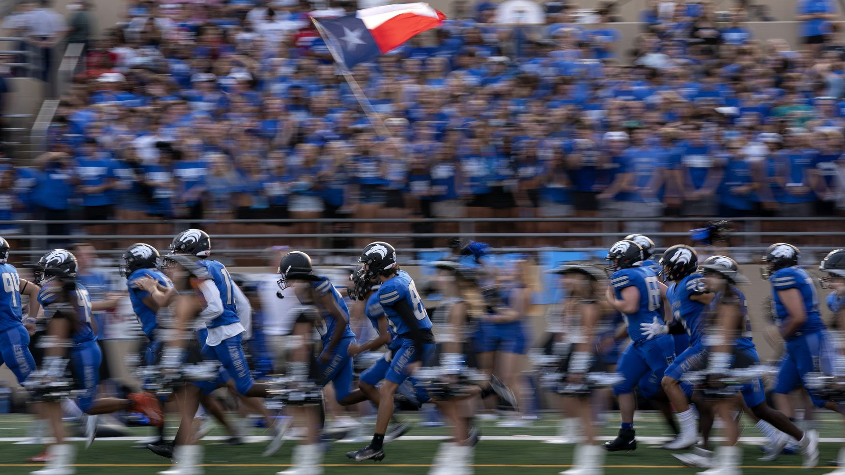 Plano West takes the field before a high school football game against Little Elm on Friday, Sept. 10, 2021 at John Clark Stadium in Plano, Texas. Little Elm won 35-31.