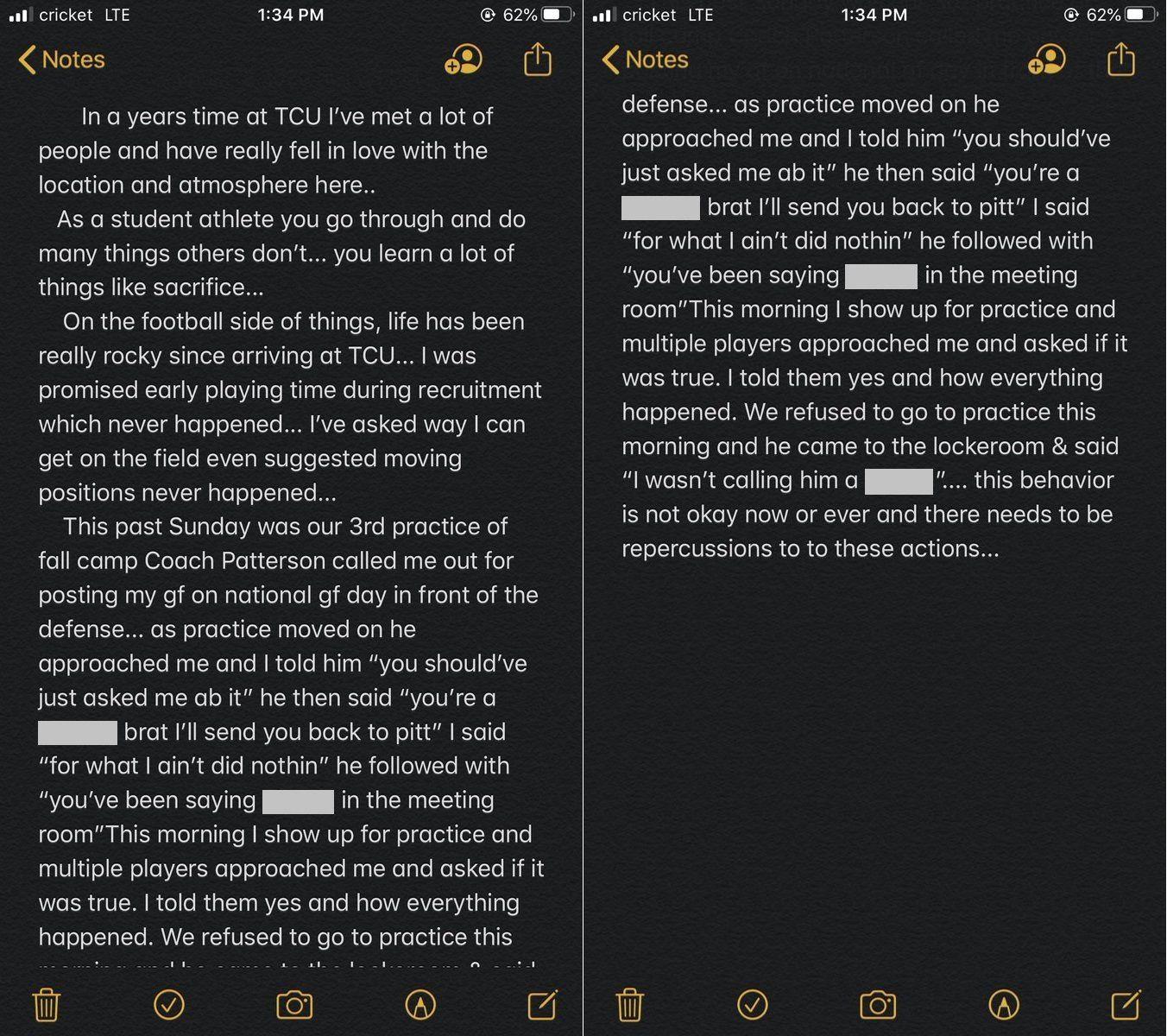Screen shots from TCU linebacker Dylan Jordan's Twitter account (@thedylanjordan_)