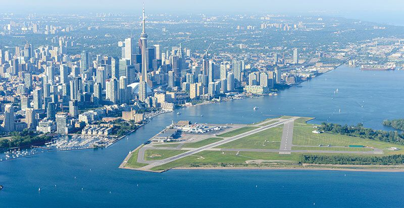An aerial view of Billy Bishop Toronto City Airport in Canada.