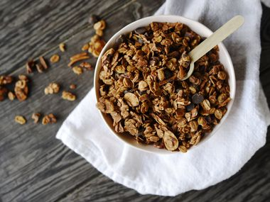 A bowl of granola with dark chocolate from Park Lane Pantry