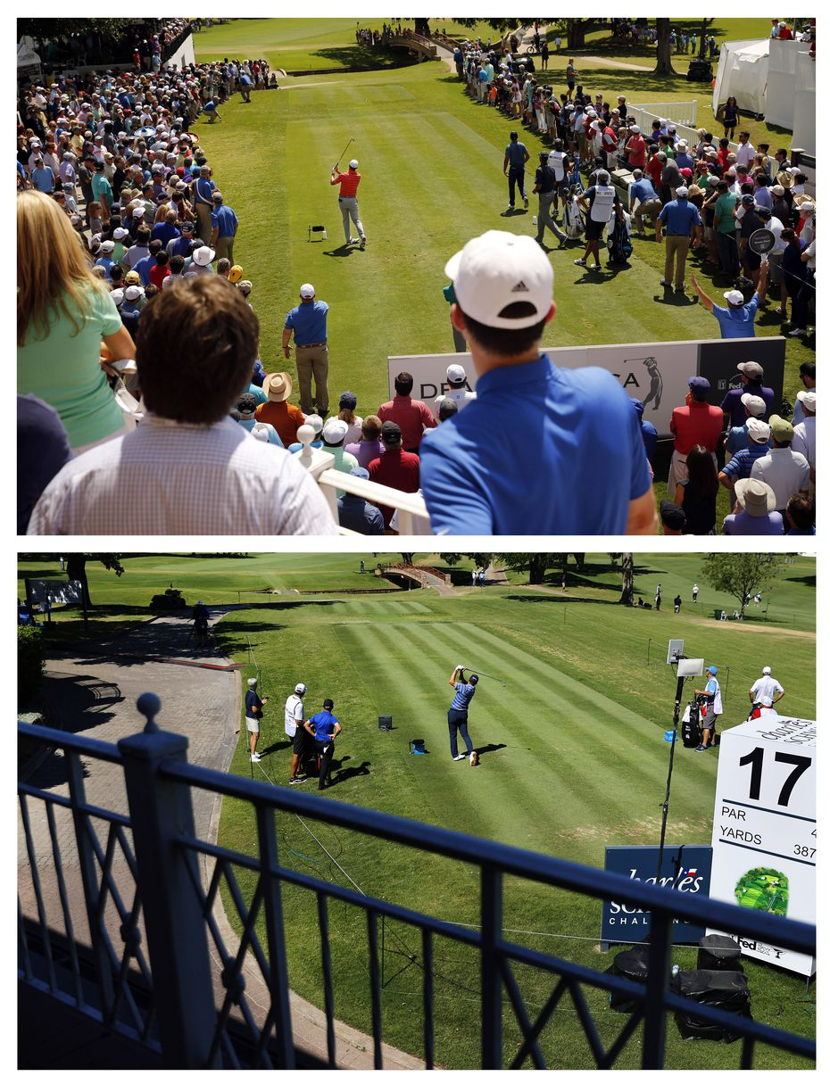THEN - Fans crowd around the 17th tee box to get a glimpse of golfer Jordan Spieth teeing off during the second round of the Dean and Deluca Invitational at the Colonial Country Club in Fort Worth, Friday, May 27, 2016. (Tom Fox/The Dallas Morning News)NOW - Before the absence of fans, PGA Tour golfer Ryan Palmer tees off on No. 17 during the opening round of the Charles Schwab Challenge at the Colonial Country Club in Fort Worth, Thursday, June 11, 2020.  The Challenge is the first tour event since the COVID-19 pandemic began. (Tom Fox/The Dallas Morning News)