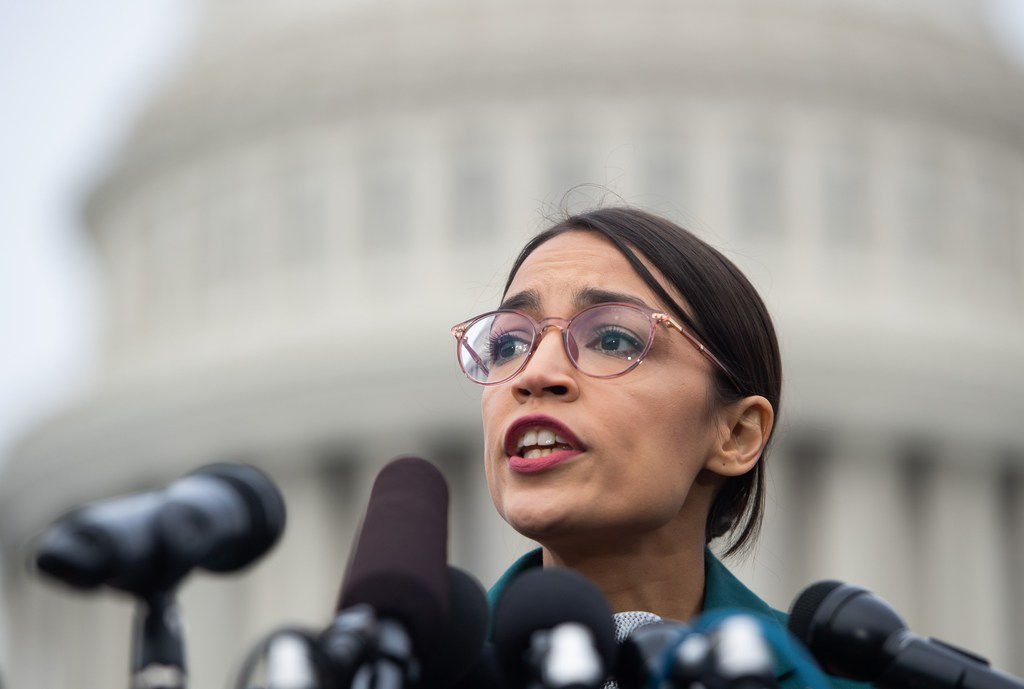 Newly elected U.S. Rep. Alexandria Ocasio-Cortez, D-N.Y., spoke at a news conference on U.S. Immigration and Customs Enforcement funding Thursday in Washington.