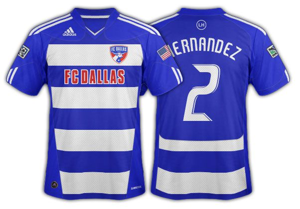 2010-11 FC Dallas blue and white hoops with blue back and shoulders.