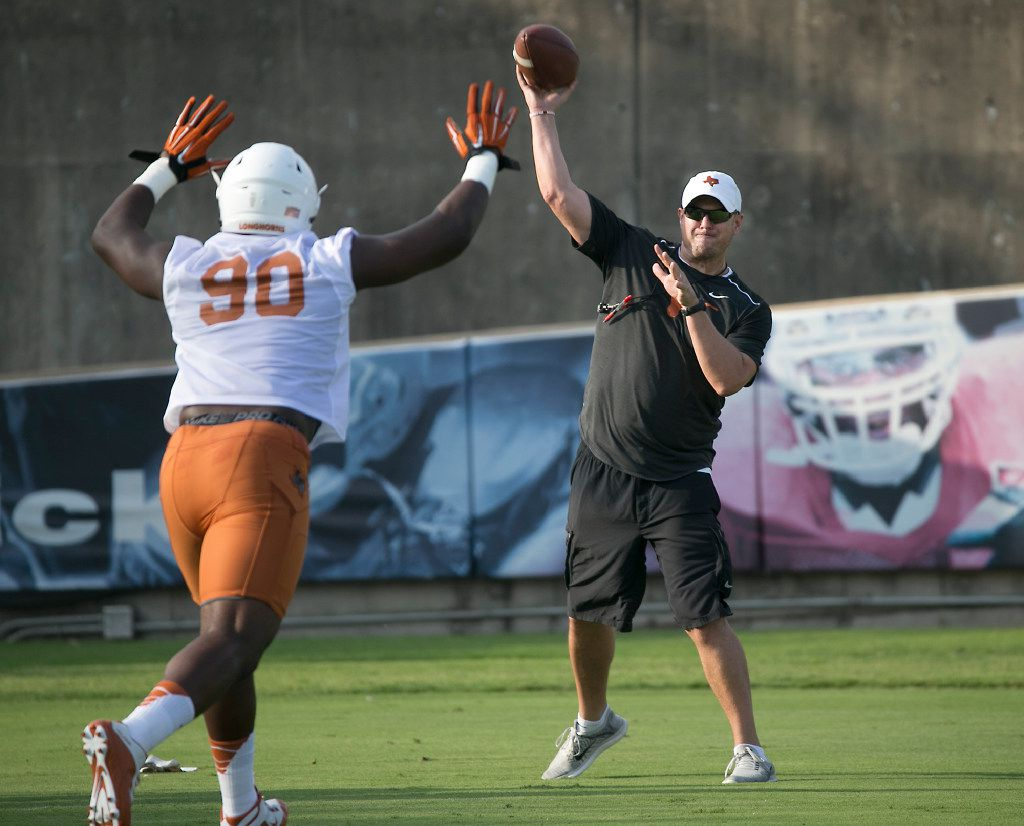 Texas first year head coach Tom Herman wants to instill toughness for his new football team as he ieads an interception drill for his defense. The Texas Longhorns opened training camp on Monday morning July 31, 2017 at Frank Denius Fields.   RALPH BARRERA/AMERICAN-STATESMAN ORG XMIT: 2041758