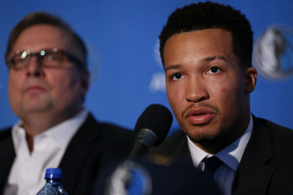 New Dallas Mavericks player Jalen Brunson speaks while introduced with Luka Doncic (not pictured) at the American Airlines Center in Dallas Friday June 22, 2018. Doncic was drafted by the Atlanta Hawks with the third overall pick of the 2018 National Basketball Association draft and traded for the Dallas Mavericks fifth overall draft pick Trae Young. Brunson was taken with the 33rd overall draft. (Andy Jacobsohn/The Dallas Morning News)