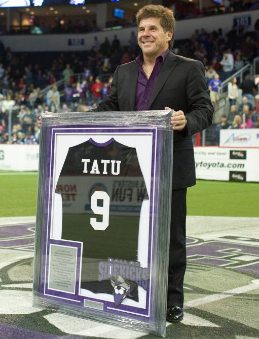 Former Dallas Sidekick player and current head coach Tatu has his jersey retired at the Allen Event Center on Saturday, February 9, 2013 in Allen, Texas.