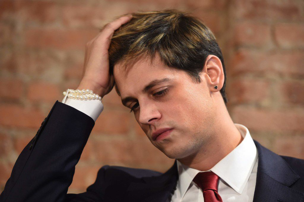 Conservative firebrand Milo Yiannopolous struck a somber tone during Tuesday's news conference. (Timothy A. Clary/Getty Images)
