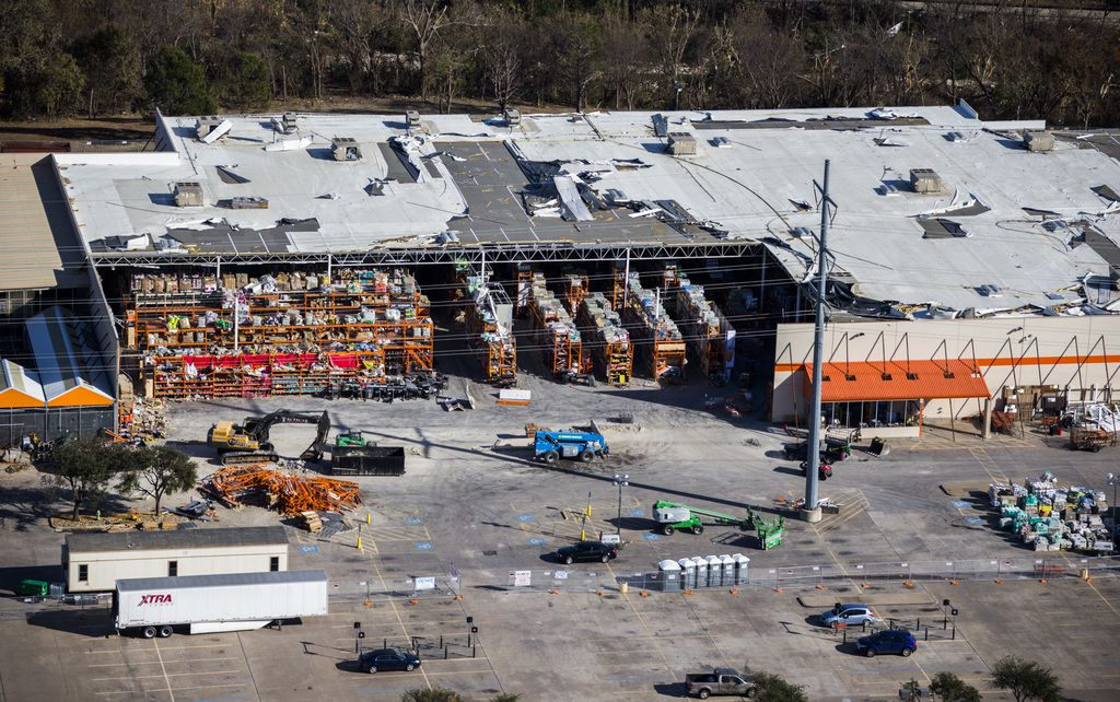 The Home Depot on Forest Lane was extensively damaged last Oct. 20, when 10 tornadoes caused $2 billion in damage to homes and businesses in Dallas, Richardson and Garland.