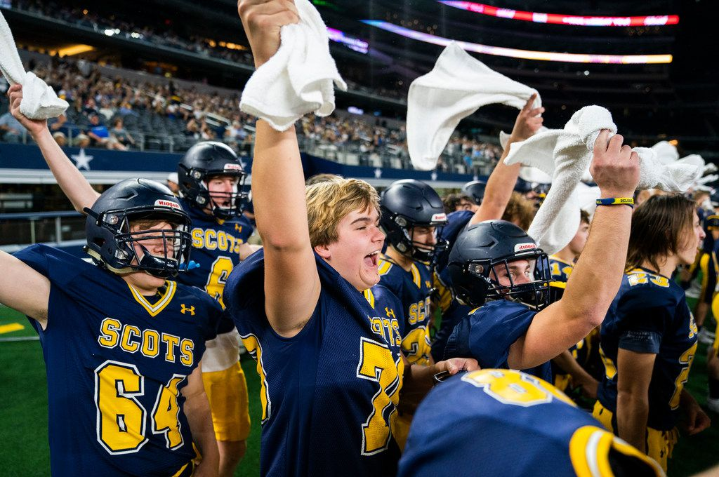 Highland Park football players cheer at a Magnolia third down play during the first quarter of a Class 5A Division I area-round playoff game between Magnolia and Highland Park on Thursday, November 21, 2019 at AT&T Stadium in Arlington. (Ashley Landis/The Dallas Morning News)