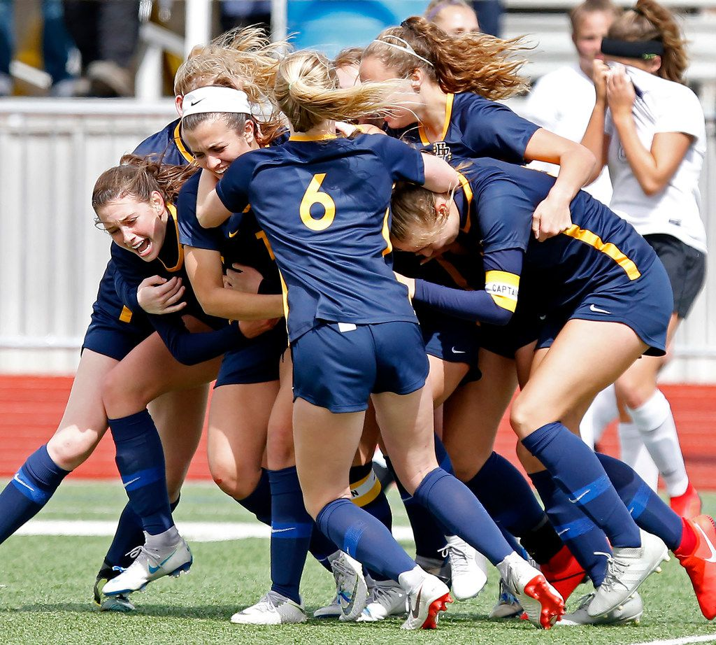 The Highland Park girls soccer team celebrates a 2-1 victory over Frisco Independence in the Class 5A Region II championship game at Standridge Stadium on Saturday.  (Stewart F. House/Special Contributor)