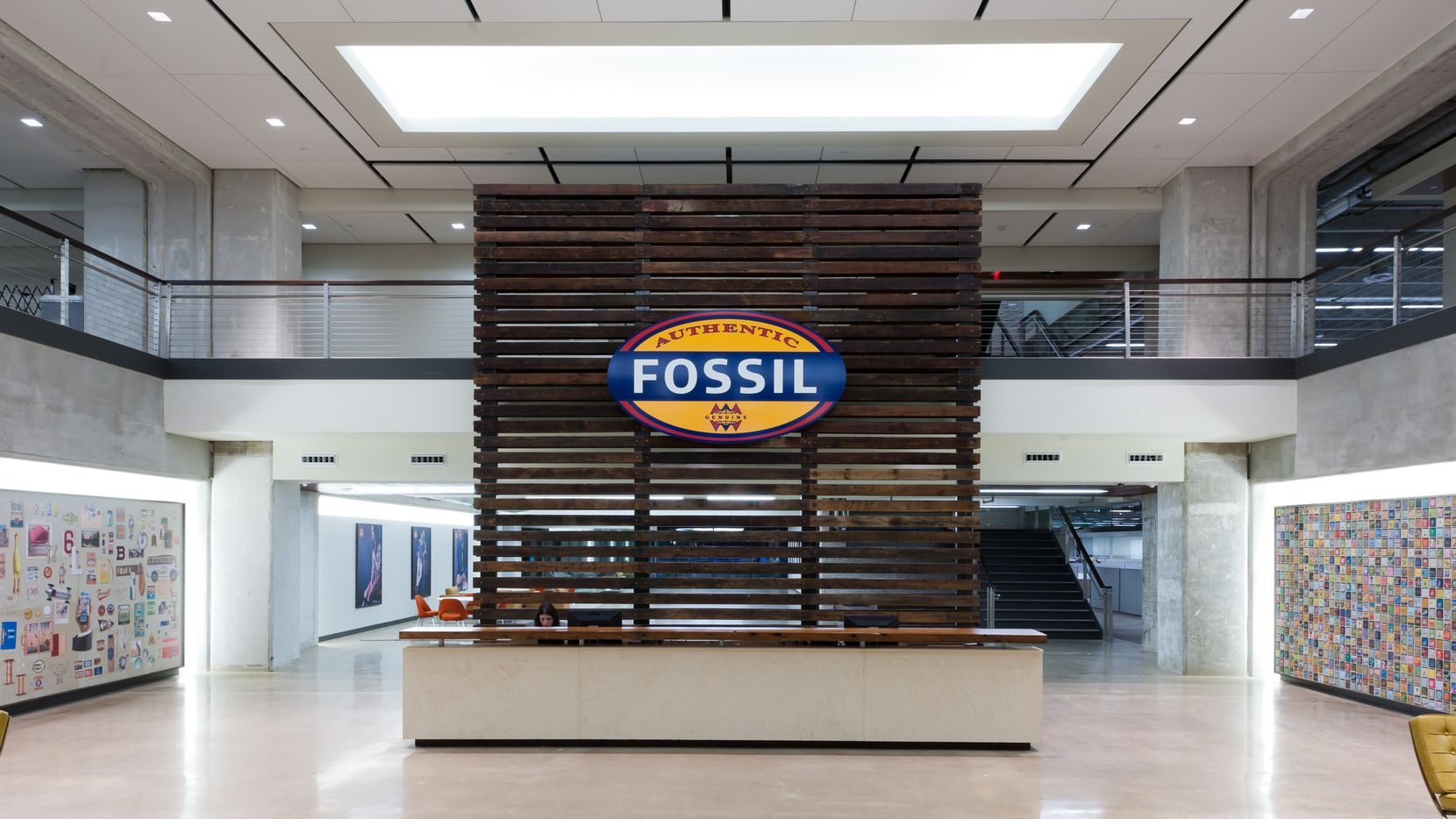 The lobby of the Fossil Group headquarters in Richardson.