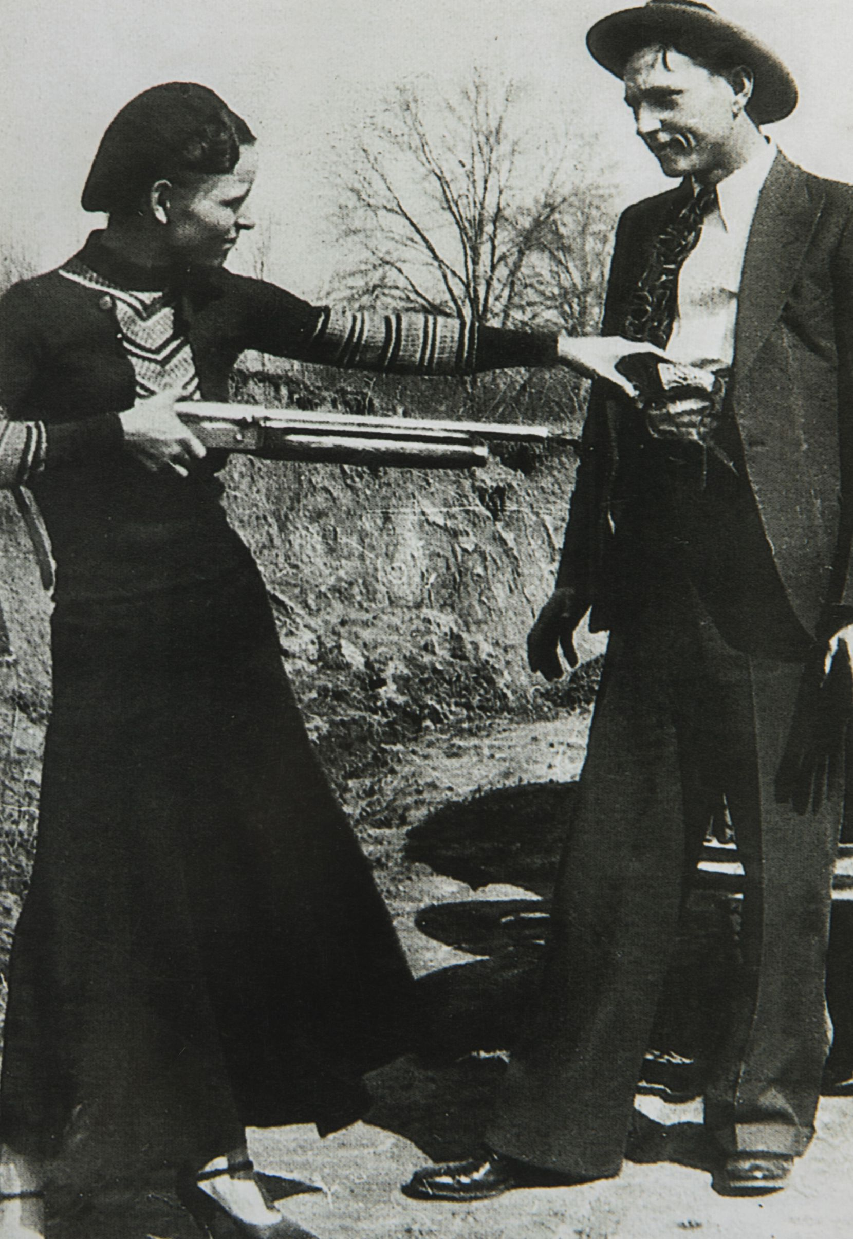Clyde Barrow and Bonnie Parker posed for a photo in 1932 in the Ozarks. (Photo courtesy of Buddy Barrow)
