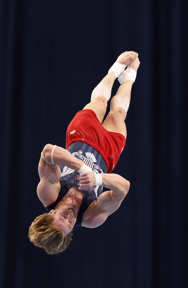 Gage Dyer competes in the floor exercise during day 2 of the men's 2021 U.S. Olympic Trials at America's Center on Saturday, June 26, 2021 in St Louis, Missouri.(Vernon Bryant/The Dallas Morning News)