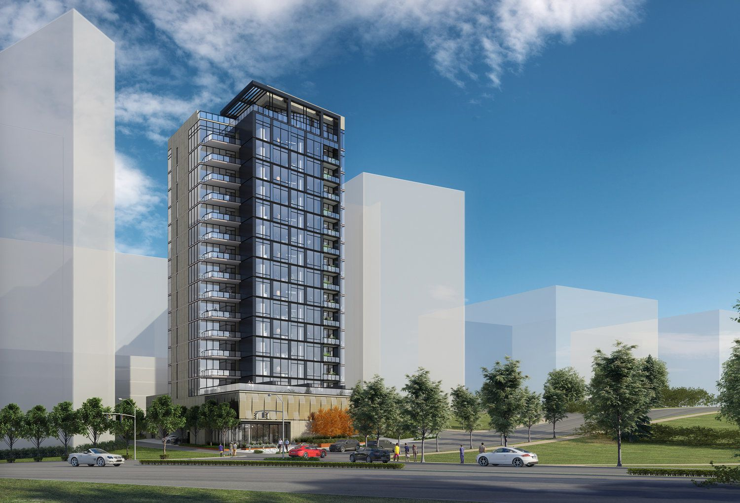 The residential tower is planned on Hall Street at Turtle Creek Boulevard — just across from Turtle Creek Park.
