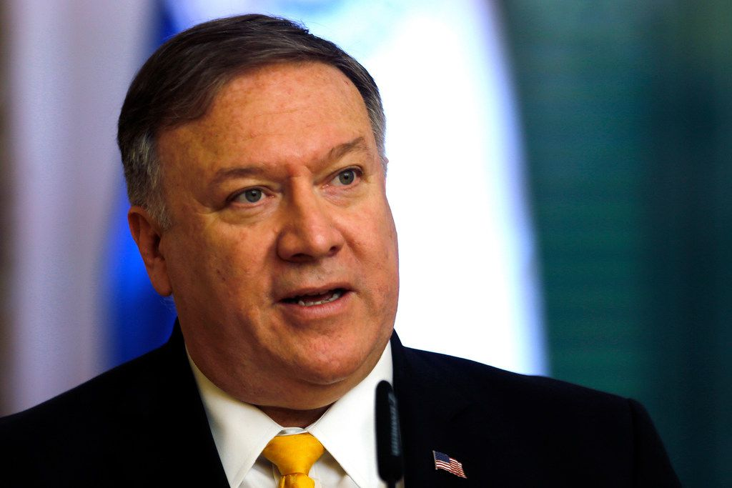 """U.S. Secretary of State Mike Pompeo during a conference at """"Palacio de Lopez"""" in Asuncion, Paraguay, Saturday, April 13, 2019.  Pompeo is in the second of four countries' tour that includes Chile, Peru and Colombia to address, mainly, the crisis in Venezuela."""