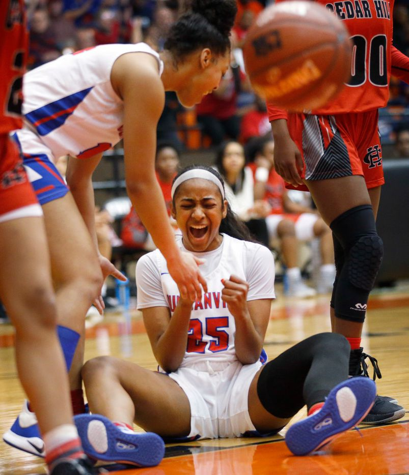 Duncanville's Deja Kelly (25) exhaults after drawing a foul while making a shot against Cedar Hill in the first half of the Class 6A Region I championship game at Wilkerson-Greines Activity Center in Fort Worth, Saturday, February 29, 2020. (Tom Fox/The Dallas Morning News)