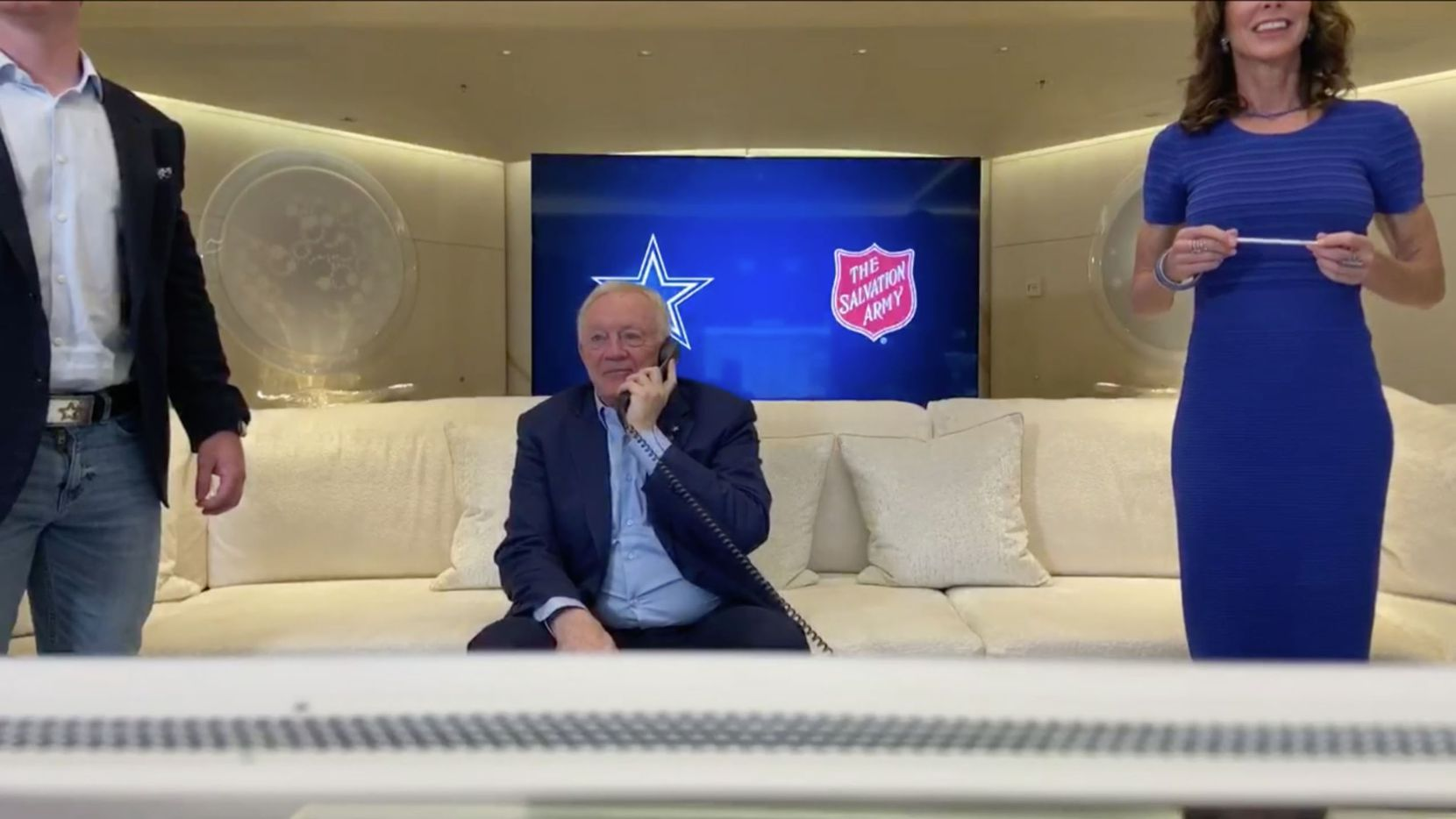 Screen capture of Dallas Cowboys team owner Jerry Jones talking on the phone to the Dallas Cowboys pick CeeDee Lamb, who was chosen by the Cowboys in the first round of the NFL Draft on Thursday, April 23, 2020. Due to the coronavirus pandemic the NFL Draft was held virtually.