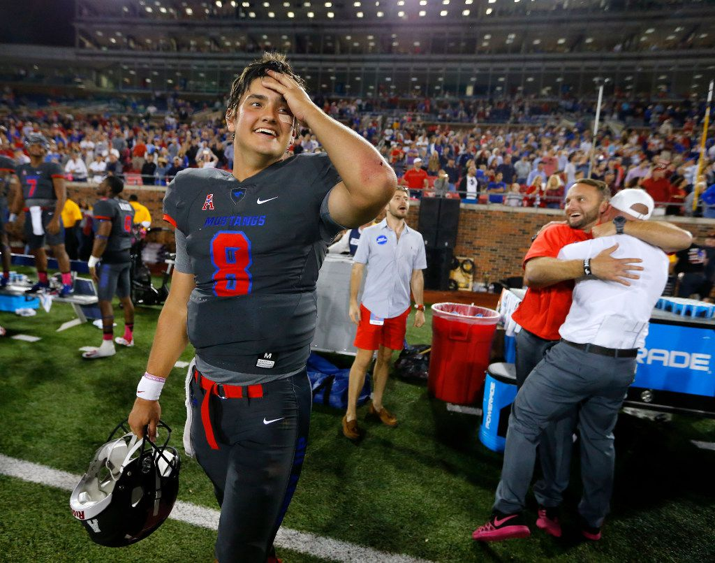 Southern Methodist Mustangs quarterback Ben Hicks (8) seems relieved and excited about their win over the Houston Cougars at Gerald J. Ford Stadium in University Park, Texas, Saturday, October 22, 2016. SMU upset Houston, 38-16.  (Tom Fox/The Dallas Morning News)