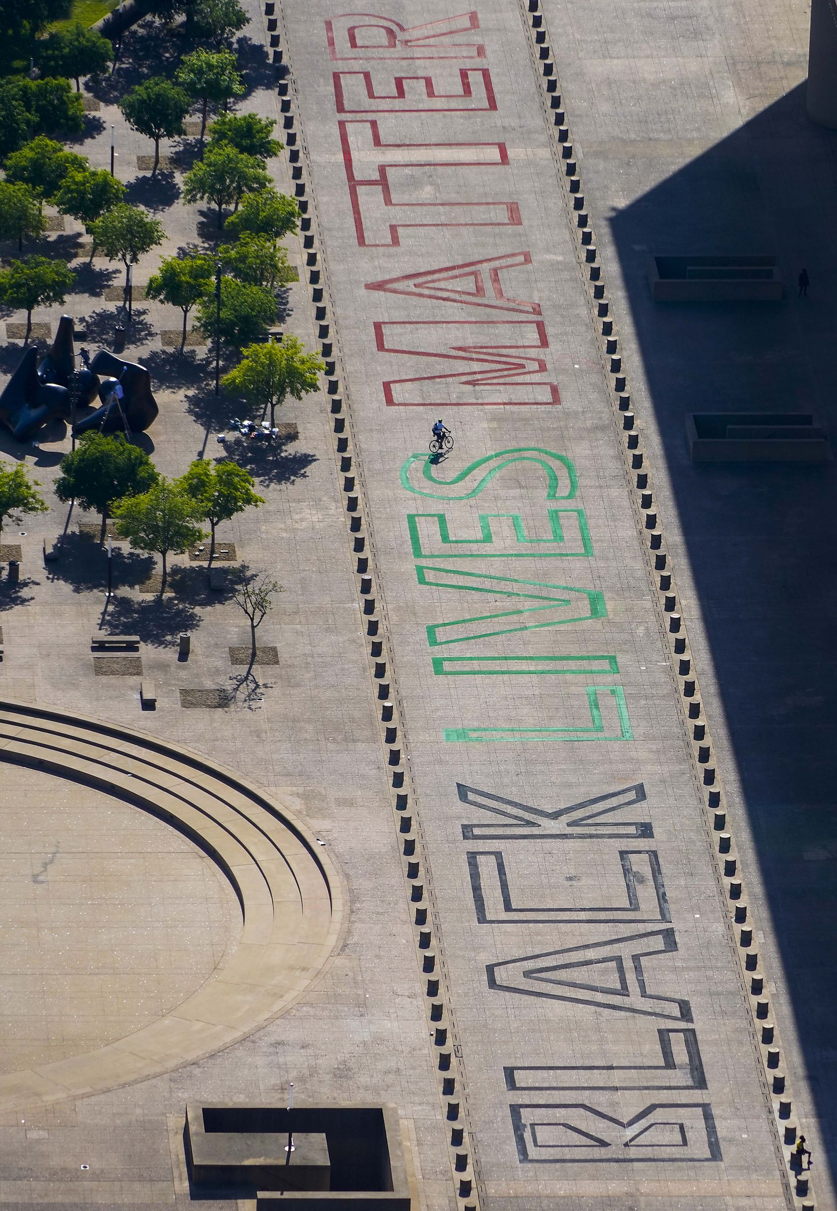 Aerial view of the words 'Black Lives Matter' seen painted on the plaza in front of Dallas City Hall on June 9.