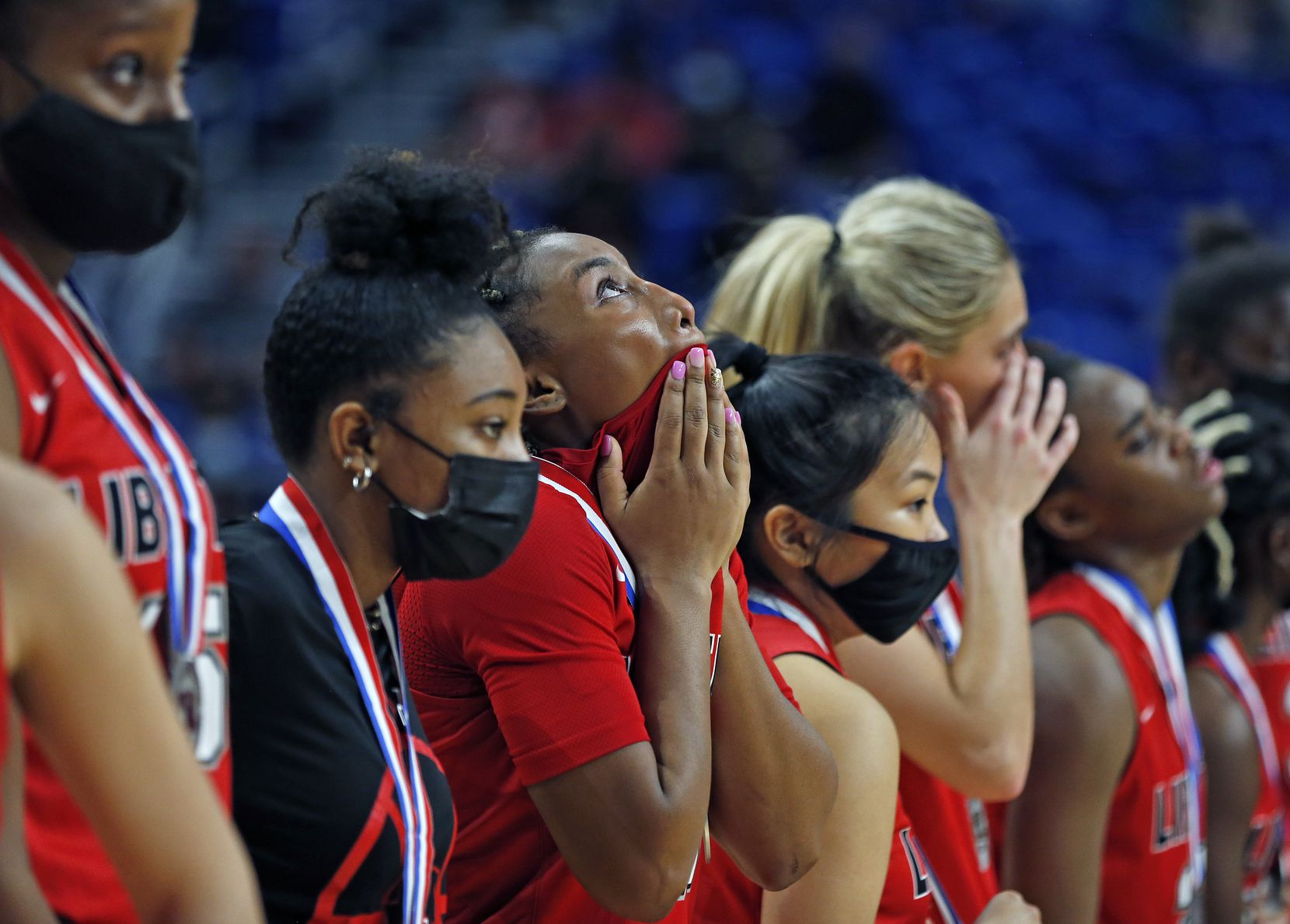 Frisco Liberty Jazzy Owens-Barnett #30 looks up and she and the rest of her teammates were dejected after losing to Cedar Park 46-39. Frisco Liberty vs. Cedar Park in girls basketball Class 5A state championship game on Wednesday, March 11, 2021 at the Alamodome.