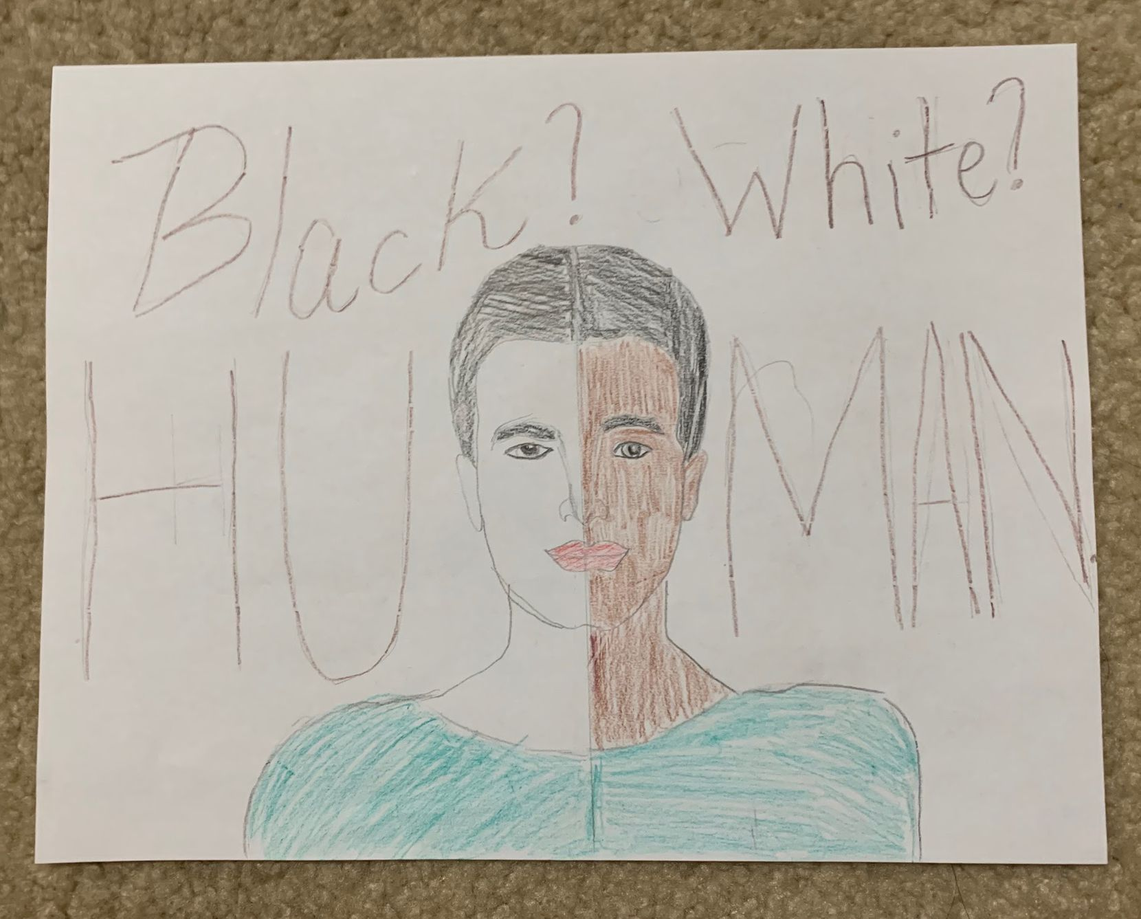 This artwork by Tej Bhatt, fourth grade, was created to recognize the Black Lives Matter movement.