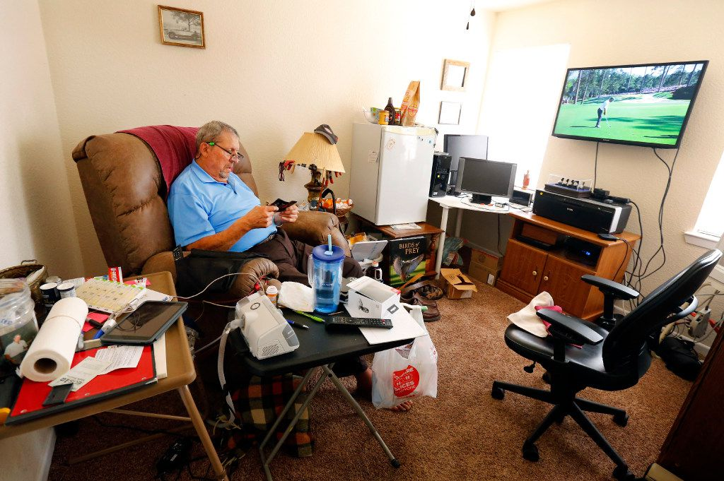 """Former Dallas Cowboy George Andrie, who was part of the original Doomsday Defense with """"Mr. Cowboy"""" Bob Lilly, enjoys some alone time watching The Masters in his man cave at his Woodway, Texas home, Sunday, April 9, 2017. After his playing years, Andrie now suffers from dementia. With the lead of his daughter Mary Brooks, they recently strong armed their attorney out of their original retainer, but still only stand to get a few hundred thousand -- enough to pay for one year of 24/7 care at his home.  Thousands of retired NFL players suffering from brain damage, including  several former Dallas Cowboys and other local players, are entitled to money as part of a class action settlement by the NFL. But just as they are about to receive their pay outs, players are worrying they might not get as much as they thought because of their lawyers' double dipping. The NFL agreed to pay the lawyers up to $112.5 million -- so players and their families thought attorneys' fees were taken care of. But now, some attorneys are trying take out of that pot -- while also cashing in on old retainer agreements that give them up to 30 or 40 percent of their client's reward. (Tom Fox/The Dallas Morning News)"""