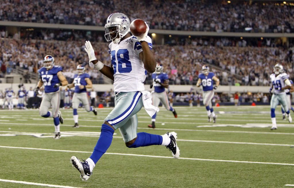 Dallas Cowboys Dez Bryant (88) celebrates on his way to the endzone off of a punt return in a game against the New York Giants during the first half of play at Cowboys Stadium in Arlington, Texas on October 25, 2010. (Vernon Bryant/The Dallas Morning News)