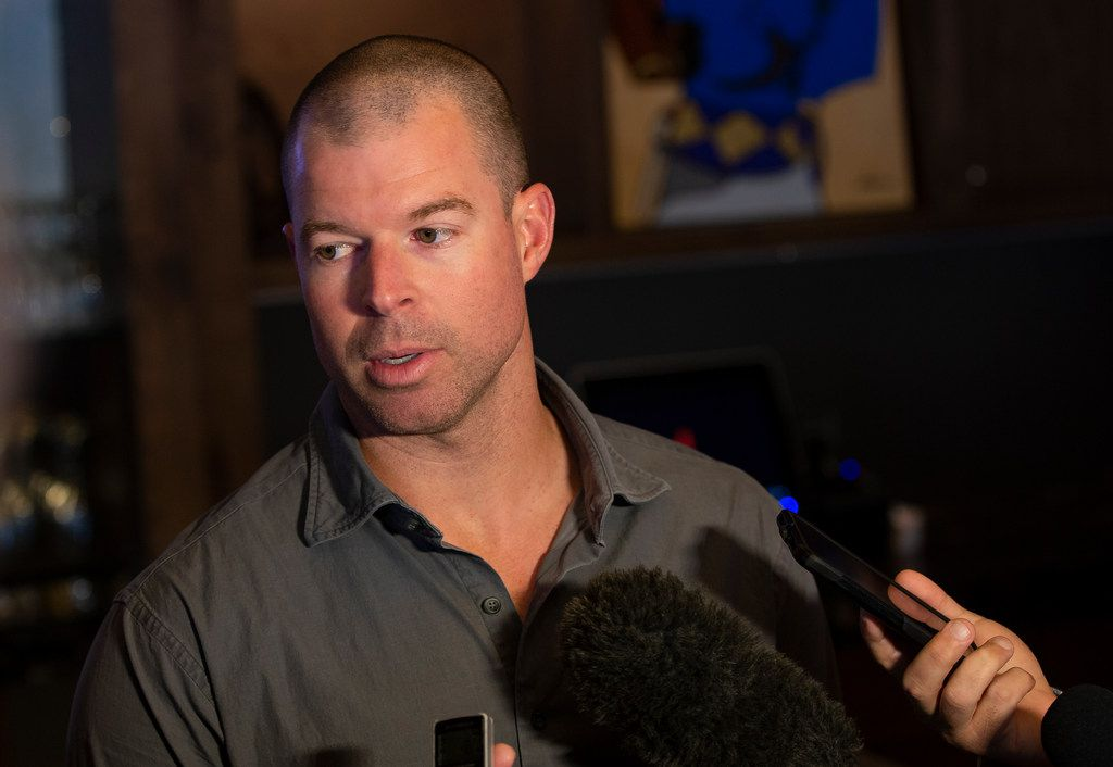 New Texas Rangers pitcher Corey Kluber answers media questions during the Rangers' Peek at the Park fanfest on Jan. 25, 2020 in Arlington. (Juan Figueroa/ The Dallas Morning News)