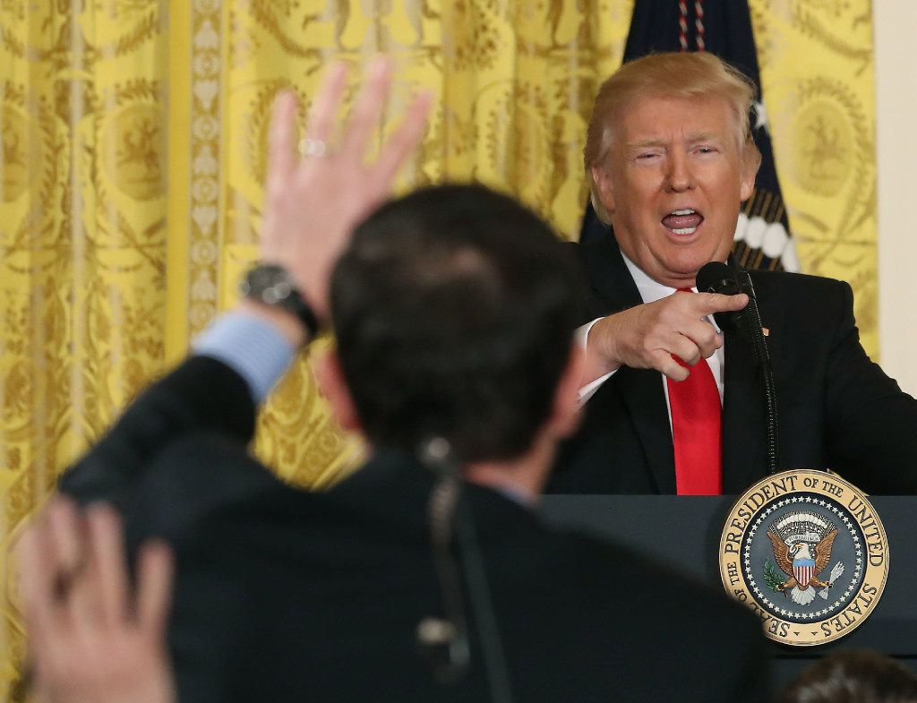 WASHINGTON, DC - FEBRUARY 16:  U.S. President Donald Trump takes questions from reporters during a news conference announcing Alexander Acosta as the new Labor Secretary nominee in the East Room at the White House on February 16, 2017 in Washington, DC. The announcement comes a day after Andrew Puzder withdrew his nomination.  (Photo by Mark Wilson/Getty Images)