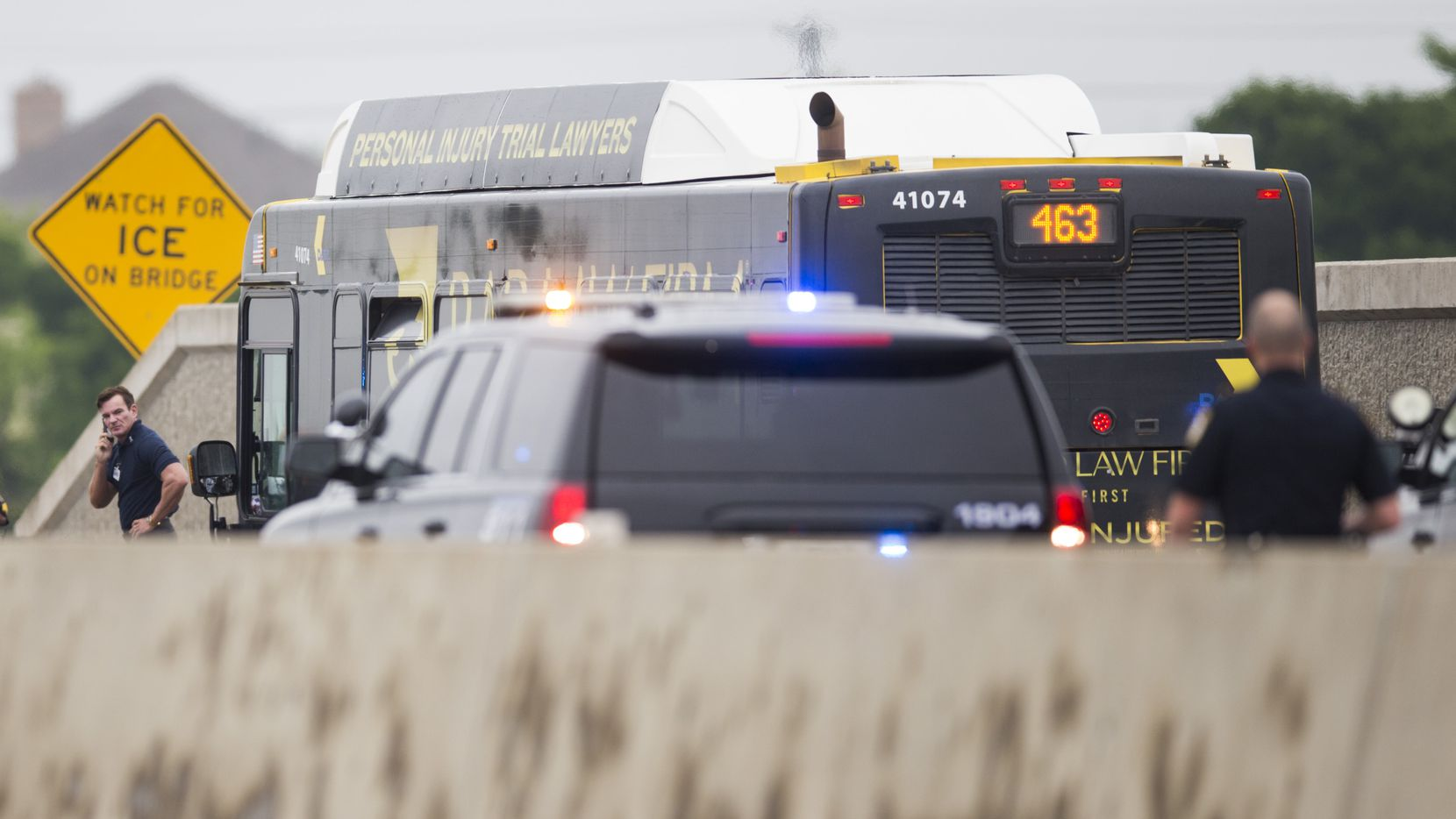 A DART bus is investigated after a gunman held the driver hostage and fired shots inside the bus while being chased by police.