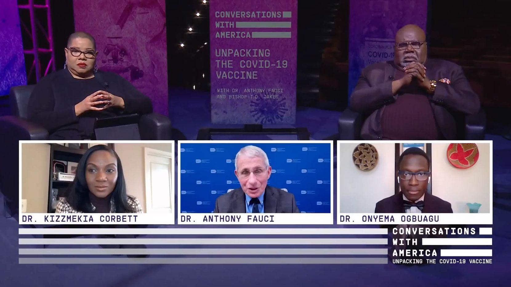 "Dr. Anthony Fauci (center) speaks during Bishop T.D. Jakes' ""Conversations with America: Unpacking the COVID-19 Vaccine"" which premiered on his Youtube channel on Monday, Jan. 25, 2021. (T.D. Jakes Youtube channel)"