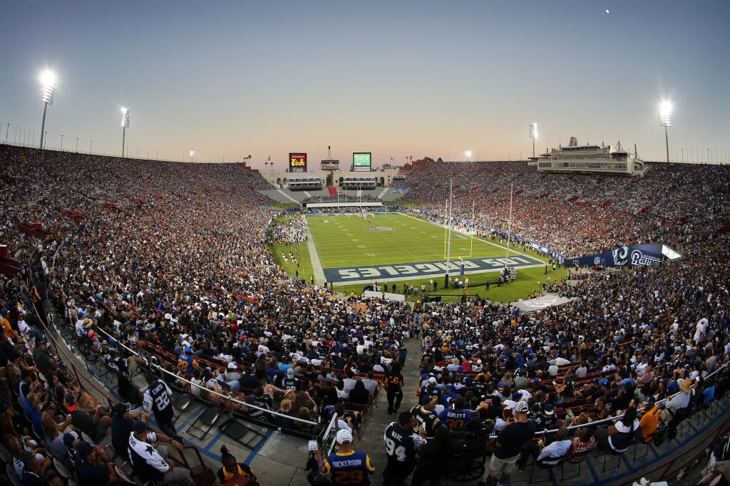 Los Angeles Memorial Coliseum was filled for the first NFL game in over 20 years, as the Dallas Cowboys faced the Los Angeles Rams in the fourth quarter of their first preseason game, Saturday, August 13, 2016. The Cowboys lost 28-24. (Tom Fox/The Dallas Morning News)