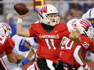 Melissa High School quarterback Sam Fennegan (11) throws a pass during the first half as Melissa High School hosted Sunnyvale High School at Melissa I.S.D. Stadium on Friday night, September 4, 2020.