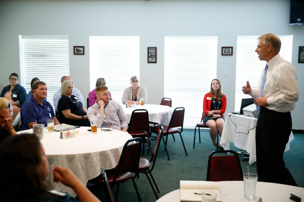 ACH chief Wayne Carson regularly holds town meetings, such as this one in Mineral Wells. He talks up foster care redesign and tries to touch people's hearts -- and consciences -- about the need for more foster parents. (Nathan Hunsinger/Staff photographer)