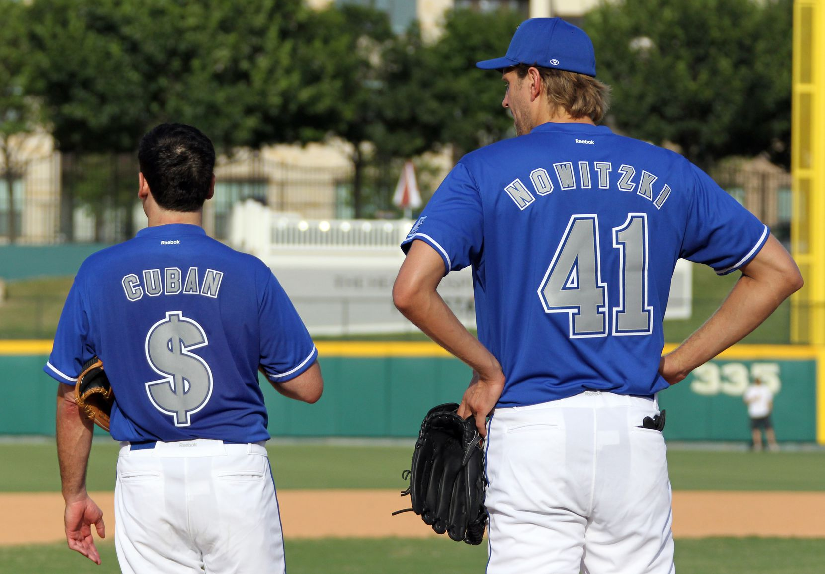 Dallas Mavericks owner Mark Cuban and Dirk Nowitzki are pictured before the Annual Heroes Celebrity Baseball Game at Dr Pepper Ballpark in Frisco on Saturday, June 29, 2013.  (Louis DeLuca/Dallas Morning News)